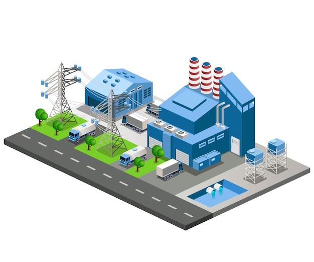 Vista industriale della fabbrica di produzione di energia ortogonale e magazzino