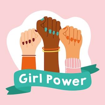 Emblema della ragazza di potere con le mani interrazziali con il disegno dell'illustrazione di vettore del nastro