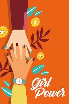Power girl con mani interrazziali che salutano illustrazione vettoriale design