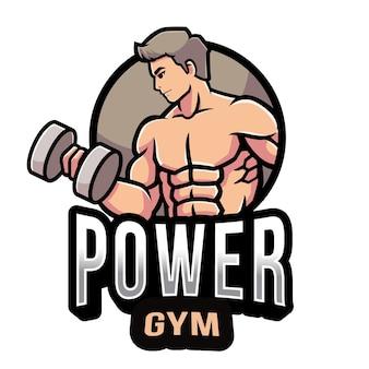 Modello di logo di palestra di potenza
