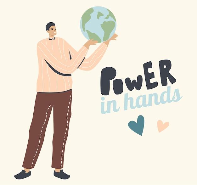 Potere nel concetto di mani. personaggio maschile che tiene il globo terrestre