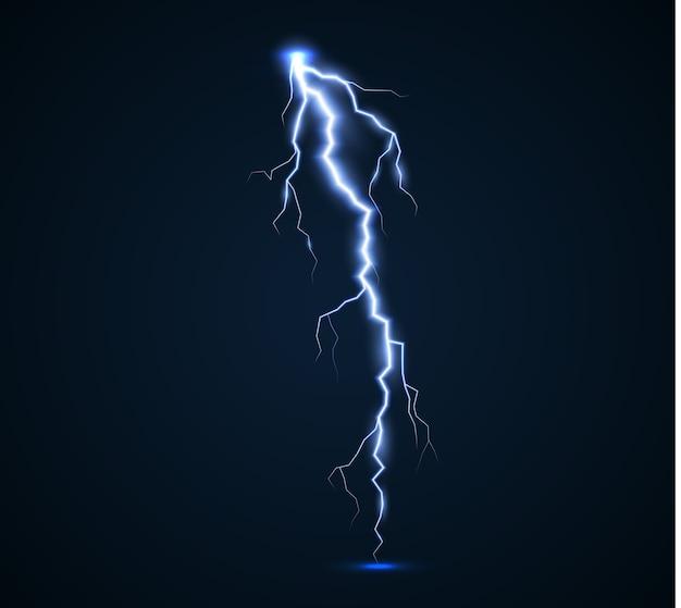 Il potere dei fulmini e delle scariche elettriche, i tuoni, la radiosità. bullone di tuono isolato.