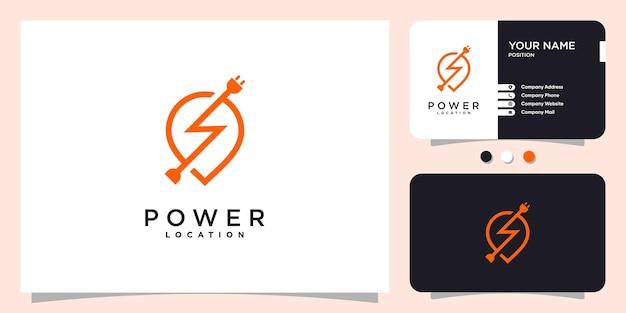 Logo di potenza con il concetto di posizione dei pin vettore premium