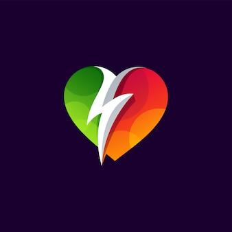 Design del logo power of love design della bottiglia di vino. illustrazione
