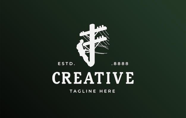 Progettazione del logo del tecnico del palo di alimentazione illustrazione vettoriale dei pali elettrici del riparatore