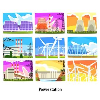 Set di centrali elettriche, impianti di generazione di elettricità e fonti illustrazioni colorate