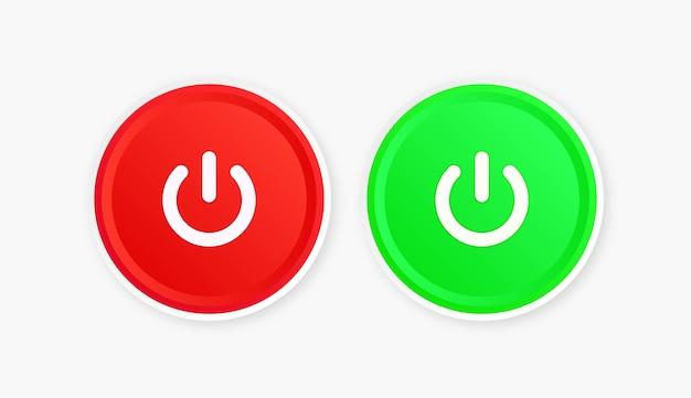 Pulsante di accensione e spegnimento dell'icona pulsanti di spegnimento con cerchio rotondo