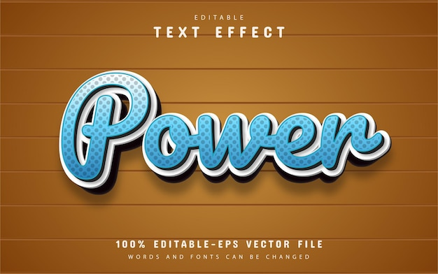 Testo potente, effetto di testo in stile cartone animato blu