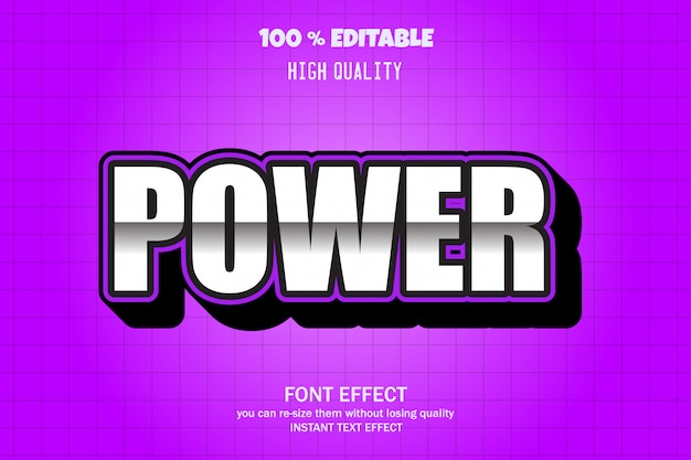 Power text, effetto font modificabile
