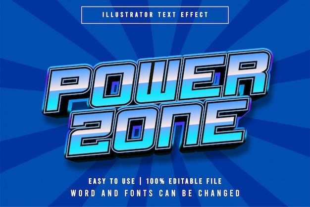 Effetto testo modificabile in stile titolo del gioco power zone