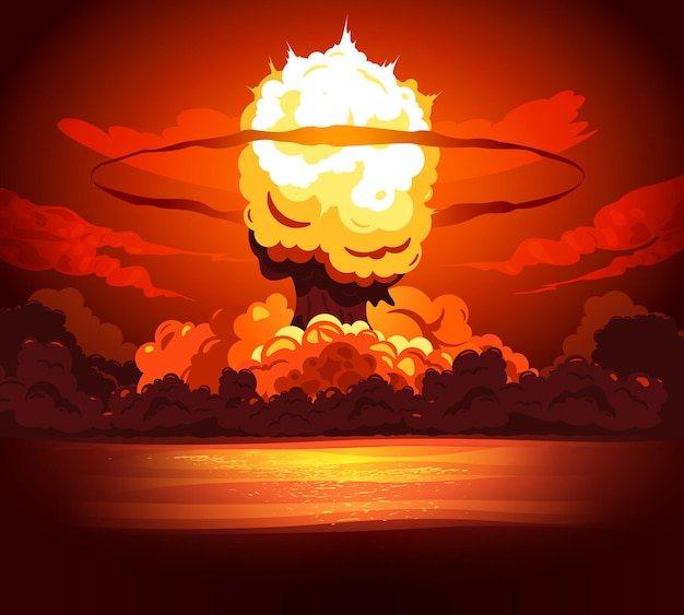 Potente esplosione di una bomba che produce un'enorme nuvola infuocata a forma di fungo con un bagliore di calore che colora i dintorni