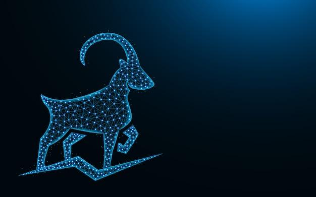 Potente capra di montagna low poly, animale astratto geometrico, ibex wireframe mesh illustrazione poligonale fatta da punti e linee su blu scuro