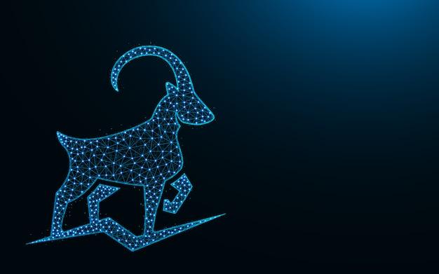 Potente design basso poli di capra di montagna, immagine geometrica astratta animale, illustrazione poligonale di vettore di maglia wireframe di stambecco fatta da punti e linee