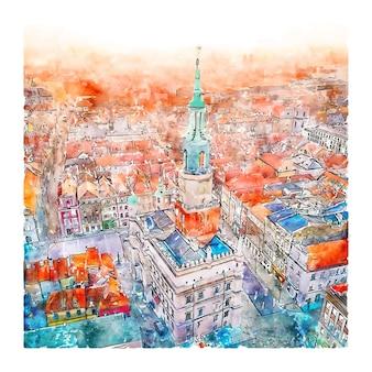 Poznan polonia illustrazione disegnata a mano di schizzo dell'acquerello