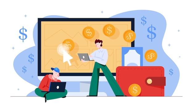 Pay per click ppc pubblicità su internet. strategia di marketing per la promozione aziendale. paga il banner sulla pagina web. illustrazione in stile cartone animato