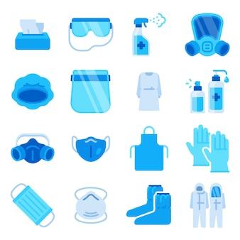 Icone di dpi. mascherina medica, spray igienizzante, flacone disinfettante, guanti e salvietta antibatterica. set di vettori di dispositivi di protezione individuale covid. illustrazione disinfezione e sanificazione per, cura