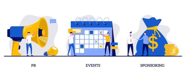 Pr, eventi, concetto di sponsorizzazione con carattere minuscolo