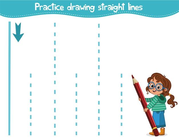 Esercitati a disegnare linee rette illustrazione vettoriale educativa per bambini