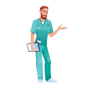 Praticante in camice blu e pantaloni che parlano e gesticolano isolato medico vettore medico