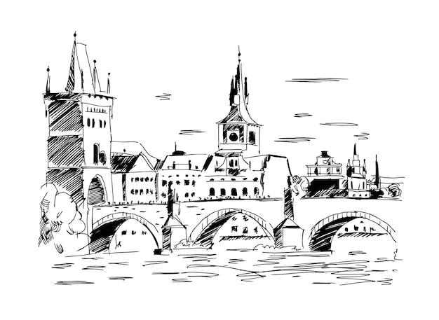 Praga repubblica ceca landmark ponte carlo illustrazione vettoriale in un colore