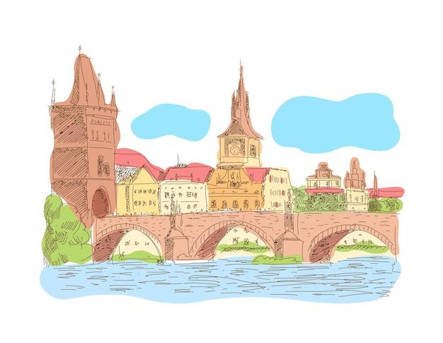 Praga repubblica ceca landmark ponte carlo illustrazione vettoriale