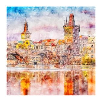 Illustrazione disegnata a mano di schizzo dell'acquerello di praga repubblica ceca