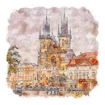 Illustrazione disegnata a mano di schizzo ad acquerello di praga repubblica ceca