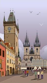 Illustrazione di praga municipio sulla piazza della città vecchia.