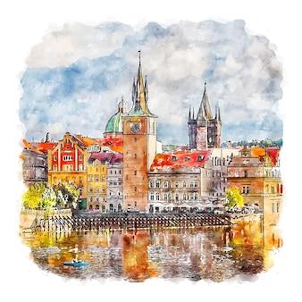 Illustrazione disegnata a mano di schizzo dell'acquerello della città di praga di praga