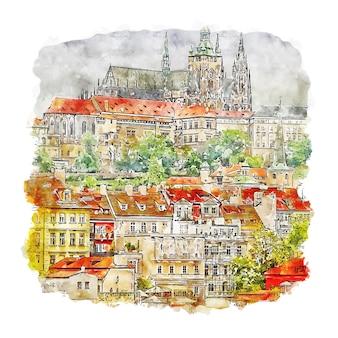 Praha city praga acquerello schizzo disegnato a mano illustrazione
