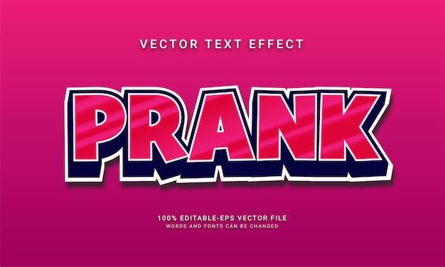 Prank 3d effetto stile di testo in stile cartone animato a tema