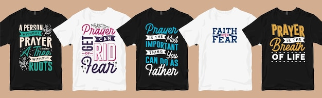 La t-shirt di preghiera progetta il pacchetto di citazioni di tipografia, set di collezione di fasci di design per magliette di preghiera
