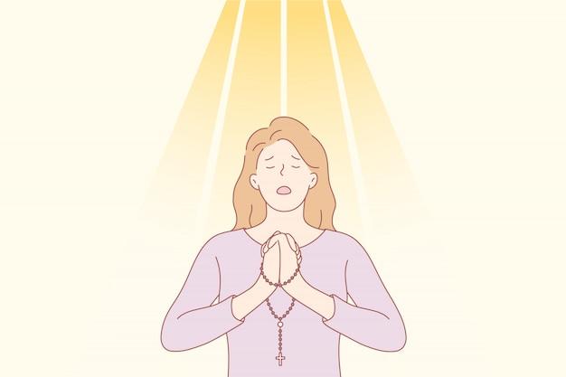 Pregare, dio, religione, perdono, cristianesimo, richiesta, concetto di fede.
