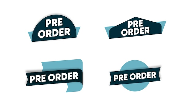 Pre-ordine etichetta modello vettoriali stock. etichetta pre-ordine per banner web e volantino online di un grande evento di vendita