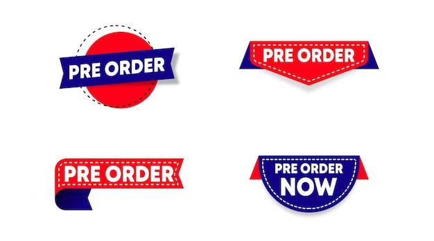 Pre-ordine etichetta modello vettoriali stock. etichetta pre-ordine per banner web e volantino online di un grande evento di vendita Vettore Premium