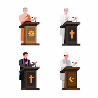 Predicatore di religione nel set di raccolta sul podio. fumetto illustrazione piatta modificabile isolato in sfondo bianco