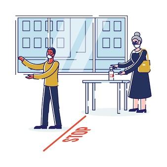 Misure precauzionali durante la quarantena le persone seguono le regole nel periodo del coronavirus