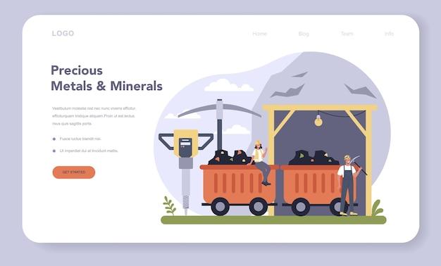 Banner web per l'industria dei metalli e minerali preziosi o illustrazione della pagina di destinazione