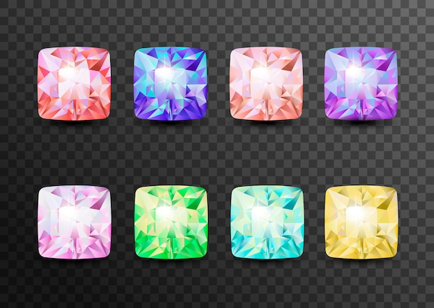 Pietre preziose e gemme, gioielli. strass e brillanti, zaffiri e ametiste, acquamarina e tormalina, diamanti e smeraldi, quarzo e rubini, agata isolata su trasparente
