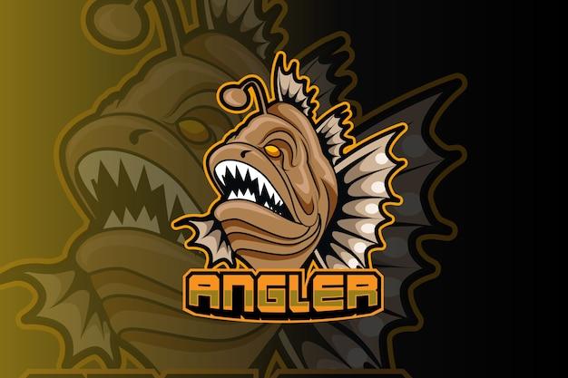 Modello di logo della squadra di e-sport di pesce predatore