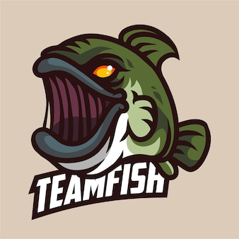 Logo di gioco della mascotte dei pesci predatori