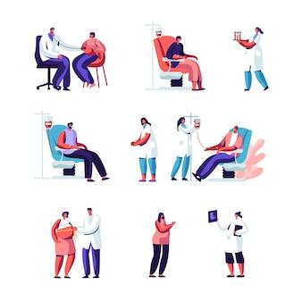 Set gravidanza e donazione di sangue. donna incinta all'appuntamento del medico.