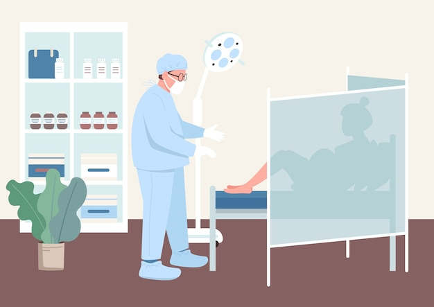 Colore piatto di controllo della gravidanza. esame clinico della salute. donna incinta nel gabinetto del ginecologo. personaggi dei cartoni animati 2d medico e paziente con interni sullo sfondo