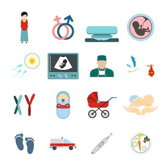 Set di elementi piatti per gravidanza per dispositivi mobili e web Vettore Premium