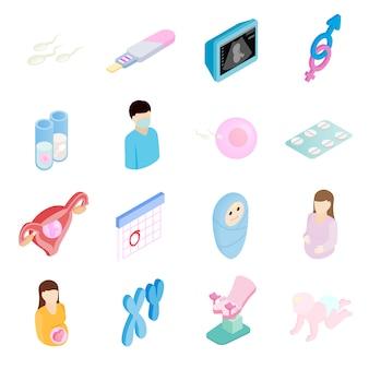 Icone isometriche 3d di gravidanza impostate Vettore Premium