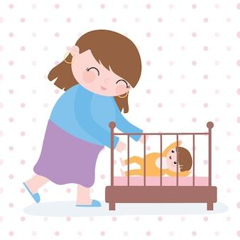 Gravidanza e maternità, mamma carina con lei un bambino nel fumetto della culla