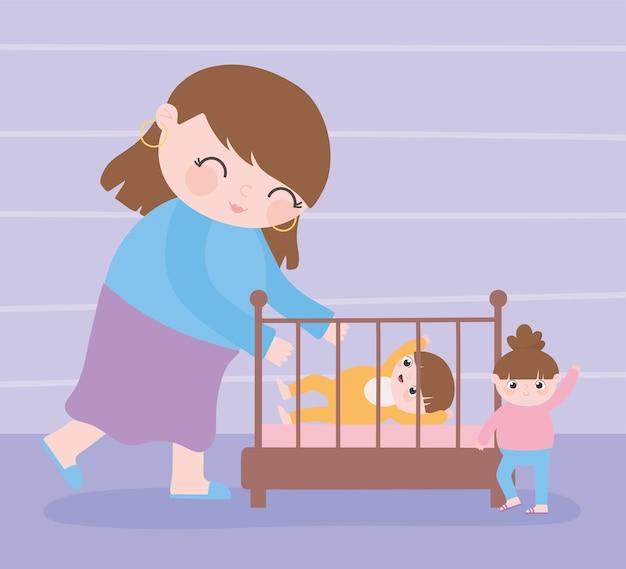 Gravidanza e maternità, mamma carina con lei un bambino in culla e piccola figlia del fumetto