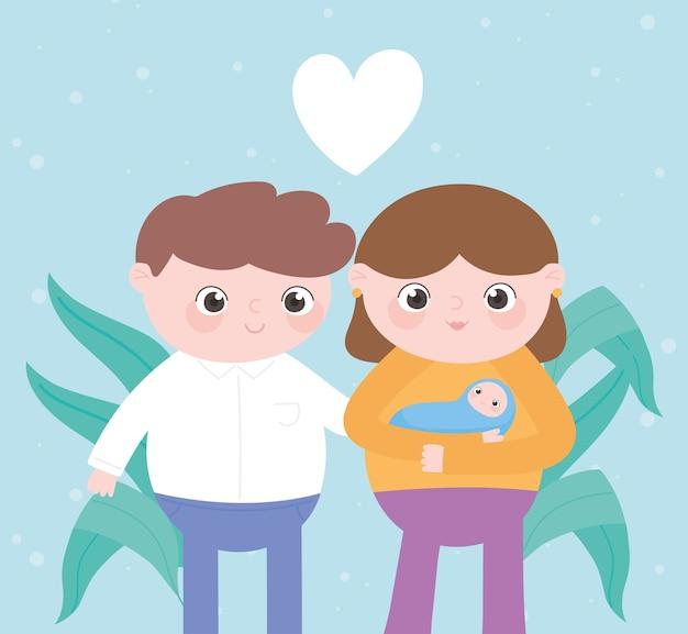 Gravidanza e maternità, genitori carini insieme al bambino in braccio