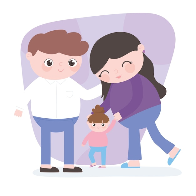 Gravidanza e maternità, genitori carini con la piccola figlia che cammina