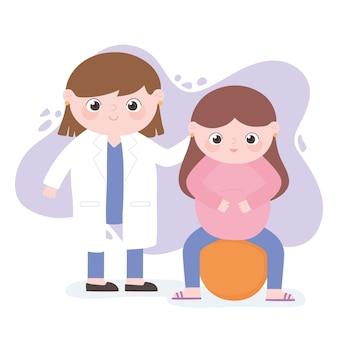 Gravidanza e maternità, donna incinta sveglia che si siede su fitball con cartone animato medico femminile